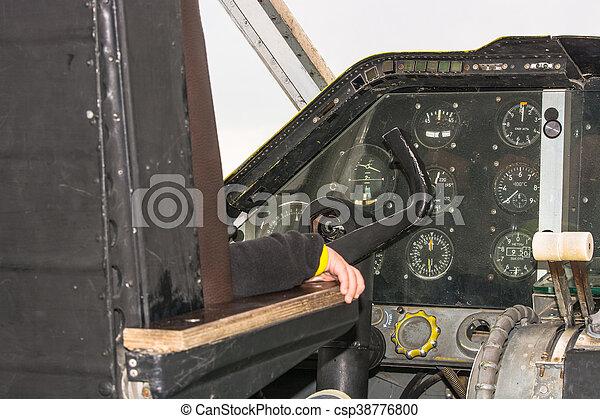 Cockpit of a vintage aircraft - csp38776800