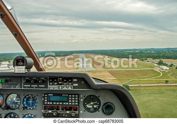 cockpit, startbahn, sport, flugplatz, flugzeug, ansicht - csp68783005