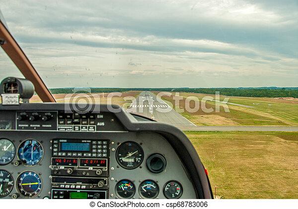 cockpit, startbahn, sport, flugplatz, flugzeug, ansicht - csp68783006