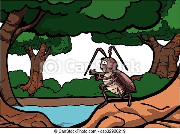 Cockroach run around forest scenery - csp32926219