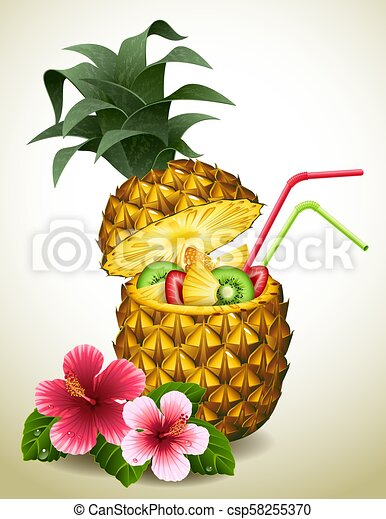 cocktail, ananas - csp58255370