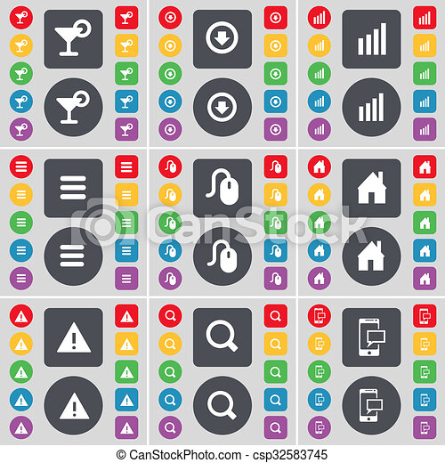 Cocktail, Arrow down, Diagram, Apps, Mouse, House, Warning, Magnifying glass, SMS icon symbol. A large set of flat, colored buttons for your design. - csp32583745