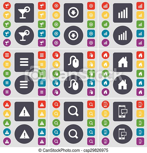 Cocktail, Arrow down, Diagram, Apps, Mouse, House, Warning, Magnifying glass, SMS icon symbol. A large set of flat, colored buttons for your design. Vector - csp29826975