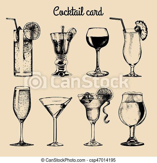 cocktail card hand sketched alcoholic beverages glasses vector set