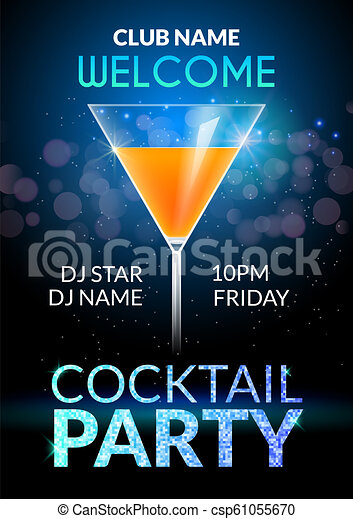 Cocktail Invitation Design Poster Cocktail Party Drink Banner Card Or Flyer Template Vector