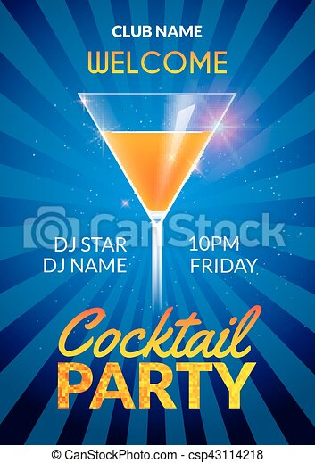 cocktail invitation design poster cocktail party drink banner card