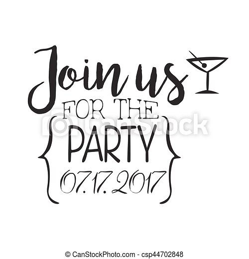 Cocktail Party Black And White Invitation Card Design Template With Calligraphic Text