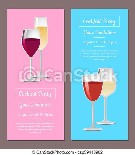Cocktail Party Your Invitation Posters Set Wine