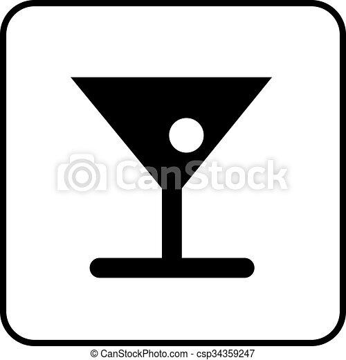 Cocktail, piktogramm. Piktogramm, weißes, getränke, schwarz,... EPS ...