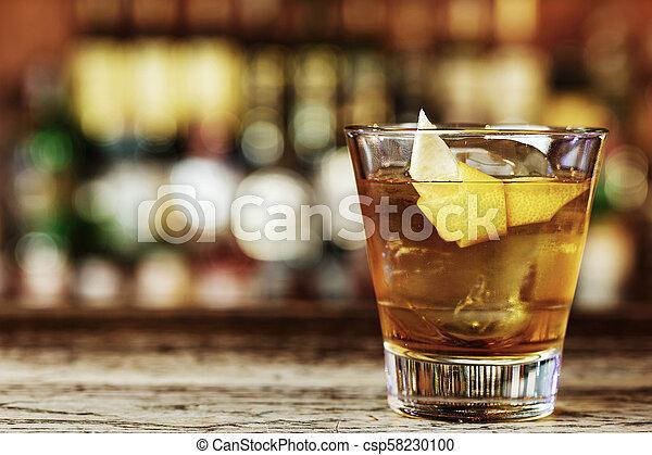 Cocktail Sazerac on the bar - csp58230100