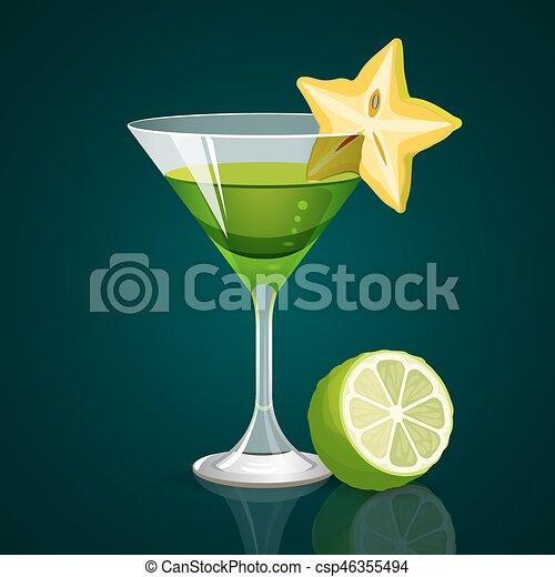 cocktail, scuro, sotto, parte, sfondo verde, calce - csp46355494