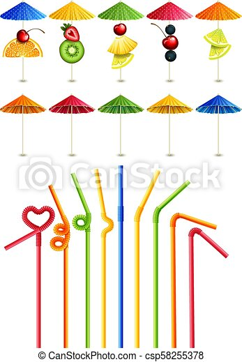 Cocktail straws and umbrellas - csp58255378