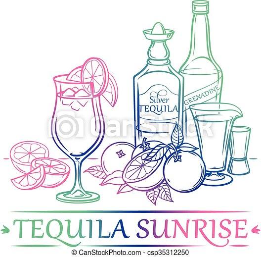 Cocktail Tequila Sunrise - csp35312250