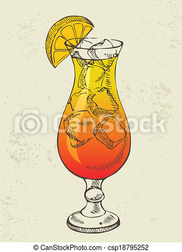 Cocktail tequila sunrise with ice - csp18795252