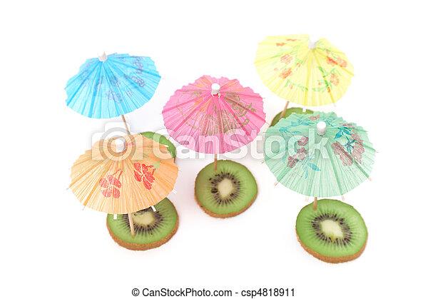 cocktail umbrellas on kiwi - csp4818911