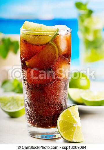 cocktail with lime and Cola - csp13289094