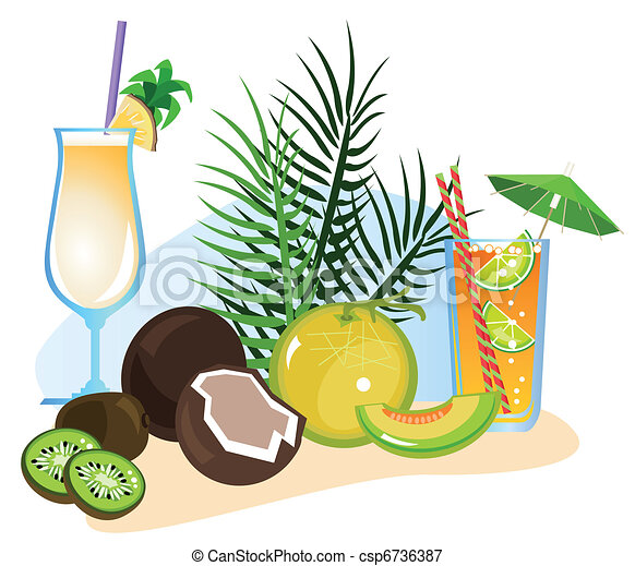 Cocktails and Fruits  - csp6736387