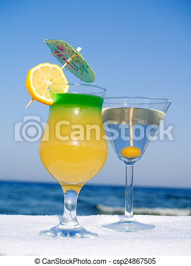 Cocktails at the Beach - csp24867505