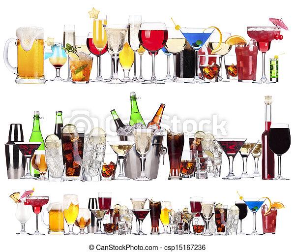 cocktails, différent, ensemble, boissons, alcoolique - csp15167236