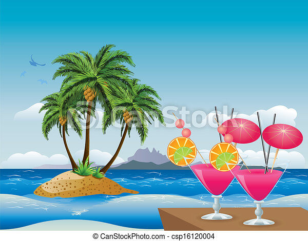 Cocktails on the beach. Two glasses of pink cocktail over ...