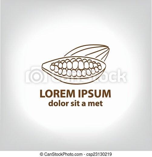 Cocoa beans, logo. - csp23130219
