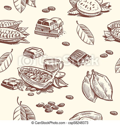 Cocoa Tree Chocolate Beans Seamless Pattern Cacao Fruit Woodcut Vector Repeating Texture Seed Tree Sweet Cacao Canstock