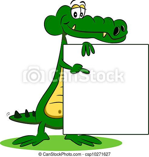 Un cocodrilo de caricatura con signo - csp10271627