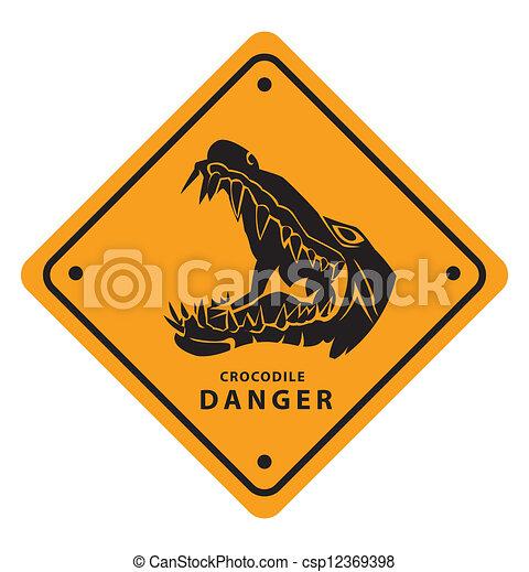 Signo de peligro de cocodrilo - csp12369398