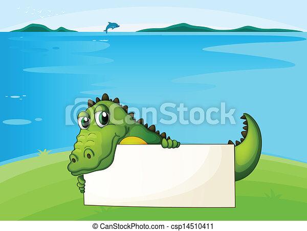 Un cocodrilo sosteniendo un cartel vacío - csp14510411