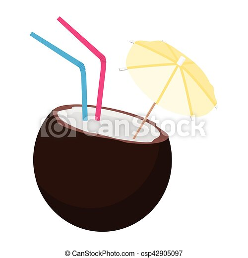 Coconut Cocktail Drink Vector Illustration With