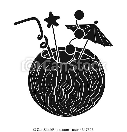 coconut cocktail icon in black style isolated on white clip art rh canstockphoto com surf clipart black and white