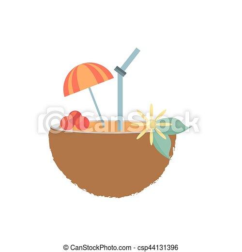 Coconut Cocktail Umbrella Straw Drink Refreshment Vector Illustration Eps 10