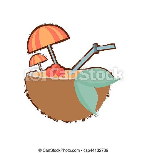 Coconut Cocktail Umbrella Straw Drink Refreshment Color Sketch Vector Illustration Eps 10