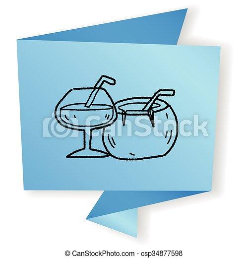 Coconut Drink Doodle Eps Vectors