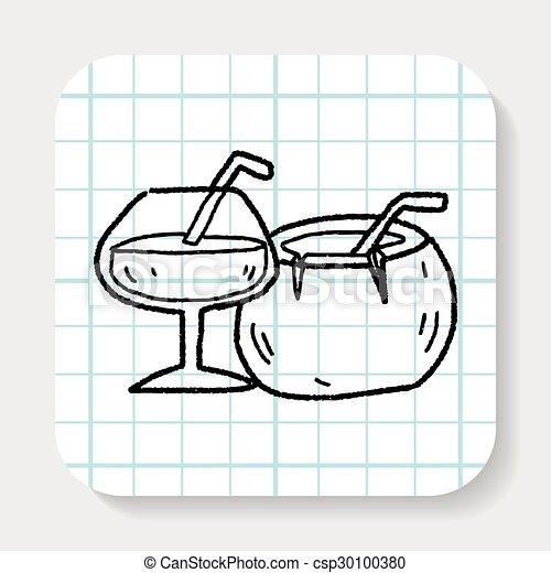 Coconut Drink Doodle Vector