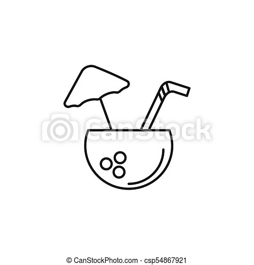 Coconut Drink Outline Icon Thailand Vector Illustration Isolated On White Background Element Culture And Traditions