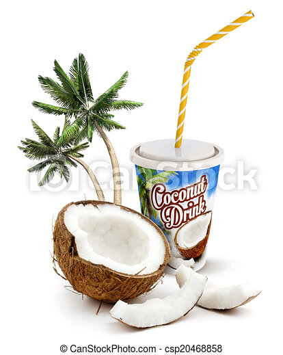 Coconut Drink Beverage With Fresh And Palm Trees
