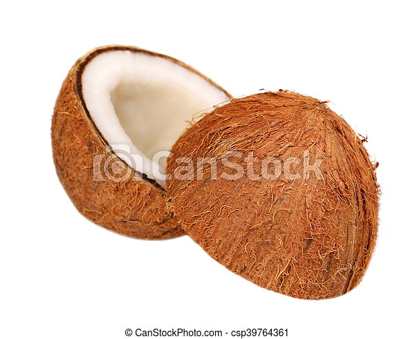 Coconut half isolated on white - csp39764361