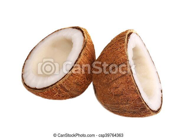 Coconut half isolated on white - csp39764363