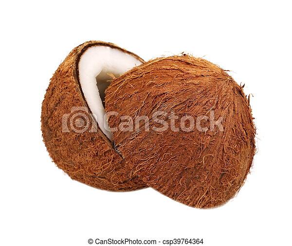 Coconut half isolated on white - csp39764364