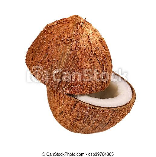 Coconut half isolated on white - csp39764365