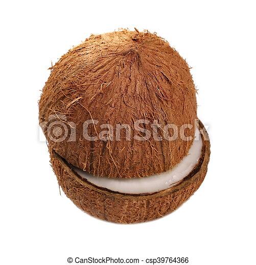 Coconut half isolated on white - csp39764366