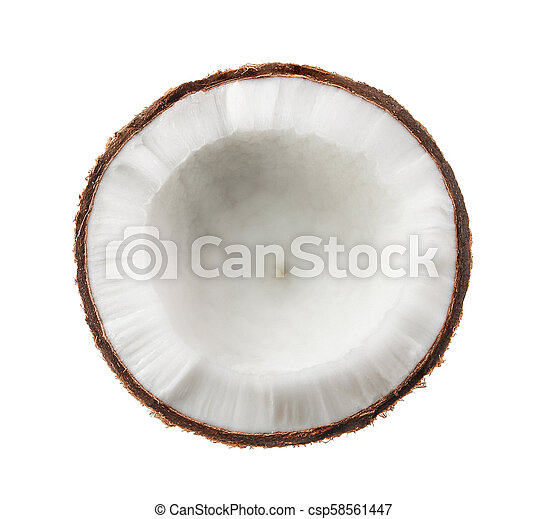 Coconut. Half isolated on white background - csp58561447