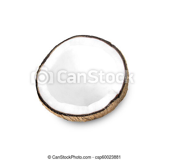 Coconut half on a white background - csp60023881