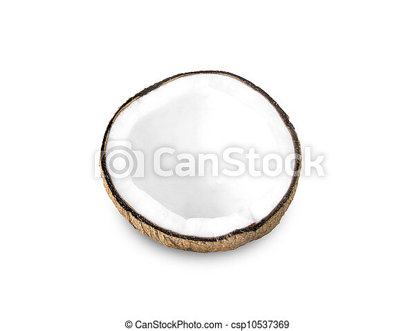 Coconut half on a white background - csp10537369