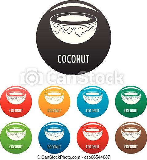 Coconut icons set color - csp66544687