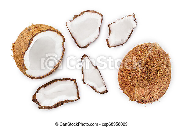 coconut isolated on white background. Top view. Flat lay - csp68358023
