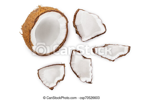coconut isolated on white background. Top view. Flat lay - csp70526603