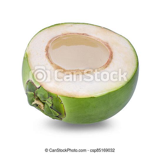 Coconut juice isolated on white background - csp85169032
