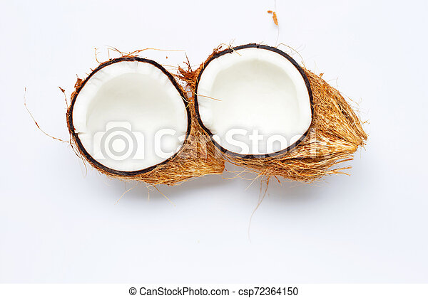 Coconut on white background. Top view - csp72364150
